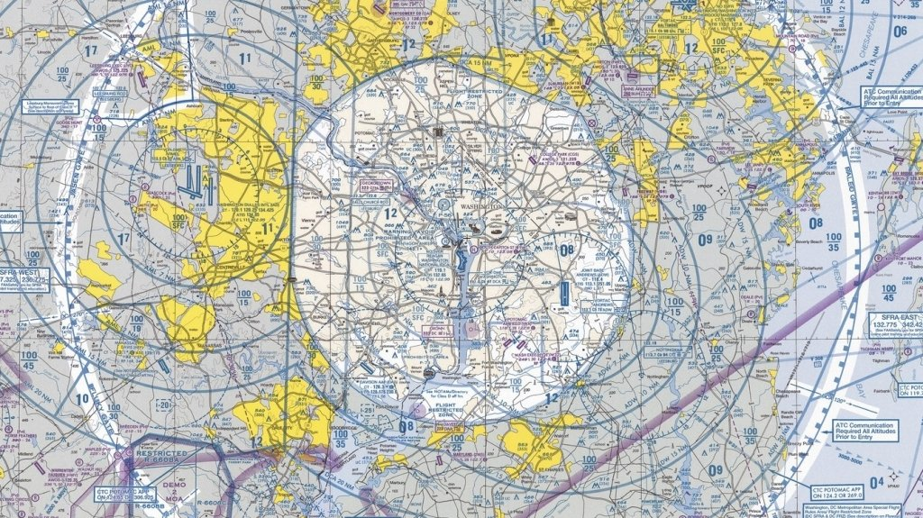 A Washington, DC sectional map showing no-fly zone to the ground. Do you know what you are looking at?