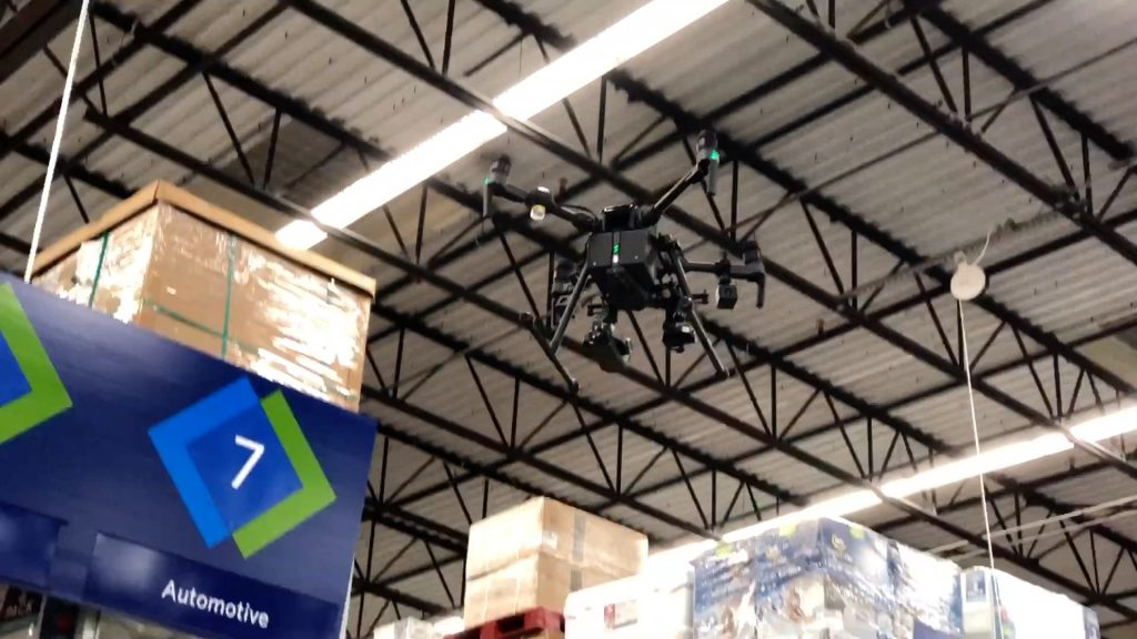 DJI Matrice 210 flying inside big box store